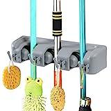 Vicloon Besenhalterung, Besen Mop Halter mit 4 Haken und 3 Schnellspannern, Ordnungsleiste Wandhalter für Küche Badezimmer Garten Multifunktionen