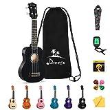 Donner Sopran Ukulele 21 Zoll für Kinder Anfänger Ukulele Schwarz Starter Kit mit Nylon Saiten Hawaii Gitarre