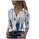 Karierte Bluse Damen Lange Hemdbluse Button Down Shirt Tunika Fit Loose Hemd Karo Casualhemd Arbeithemd Festhemd Elegant Für Oktoberfest Party Büro White XXL