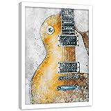 Kunstdruck weißer Rahmen Elektrische Gitarre Bilder Dekoration Musik Orange 15x21 cm