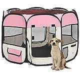 Tidyard Welpenauslauf mit Tragetasche faltbar Welpenlaufstall Tierlaufstall für Hunde Hasen Meerschweinchen Katzen für innern oder außen Rosa 90x90x58 cm