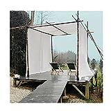 Sonnensegel Sichtschutznetz, Pavillon Vorhang Draussen Dekoration Gaze Sonnenschirm Terrasse Winddicht Datenschutz, LJAINW (Color : White, Size : 1.2x5m)