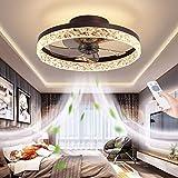 Deckenventilator Mit Beleuchtung LED Dimmbare Fan Deckenlampe Mit Beleuchtung Und Fernbedienung Metall Acryl Stille Elektrolüfter Deckenleuchte Wohnzimmer Schlafzimmer Kinderzimmer Kronleuchter Braun