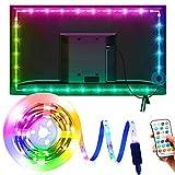 OMERIL LED TV Hintergrundbeleuchtung 3M: Led Beleuchtung USB Hintergrundbeleuchtung 16 Farben & 21 Modus RGB Led Beleuchtung Fernseher mit 25-Key Fernbedienung für 40-75 Zoll HDTV Gaming PC-Monitor