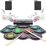 Elektronisches Schlagzeug Set, Roll-Up-Drum-Kit mit 9 Pads, E-Drum Set mit Bluetooth und Eingebaute Lautsprecher Drum Pedals, Ideal für Kinder Anfänger Enthusiasten