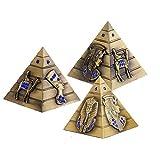 3 stk Metallstatue, Metall Ägyptische Pyramide Modell Figur Statue für Haus Büro Deko (S/M/L), Vintage Bronze Pyramide Statue, Geeignet für Büro, Wohnkultur, Jubiläum, Freund Geschenk (Bronze)