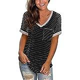 YinGTral Damen Sommer Tops Bluse Mode Casual Bequem Kurzarm T-Shirt Oberteile Frauen T-Shirts mit V-Ausschnitt Sexy Criss Cross T-Shirt Tops Casual Loose