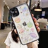 Emlivi hülle kompatibel mit iPhone 8 Silikon HandyHülle, iPhone 7 Süßes Motiv Transparent Weich TPU Schutzhülle Funkeln Klar Design Liquid Ultra Dünn Case Cover für iPhone SE 2020, schwarz Planet