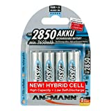 ANSMANN Akku AA Typ 2850mAh NiMH 1,2V - Mignon AA Batterien wiederaufladbar, mit hoher Kapazität ideal für hohen Strombedarf wie Controller, Foto-Blitz, Taschenlampe (4 Stück)