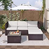 Poly Rattan Lounge Sofa Braun Gartenlounge Set für 3-4 Personen Gartenmöbel-Set mit Sofa, Glasplatte Tisch und Hocker Gartenmöbel Sitzgruppe Balkonmöbel Lounge Eck