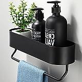 Hodzeed Befestigen Ohne Bohren Kleben Duschregal Schwarz, Aluminiumlegierung Bad Duschablage Duschkorb für Shampoo