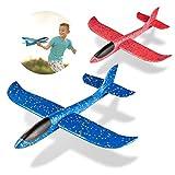 MOOKLIN ROAM 17.3 Zoll Kinder Schaum Flugzeug, 2 Stück Styroporflieger Flugzeuge Modell, Outdoor Sport Spiel Spielzeug, Segelflugzeug, Leichtflugzeug Hand werfen, Wurfgleiter für Kinder Jungen Mädchen