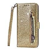 Molg Kompatibel mit iPhone 11 Pro Hülle Glitzer Premium PU Leder Reißverschluss Wallet Flip Case [Armband] [Kartenfach] [Magnetverschluß] Stoßfest Cover-G