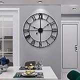 Große Wanduhr im Vintage-Stil, rund, Metall, geräuschlos, nicht tickend, batteriebetrieben, 60cm, schwarze römische Ziffern, Uhren für Wohnzimmer, Schlafzimmer, Küchendek