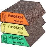 Bosch Professional 3x Expert S470 Combi Blöcke (für Weichholz, Farbe auf Holz, 69 x 97 x 26 mm, Feinheitsgrad Mittel / Fein / Superfein, Zubehör Handschleifen)