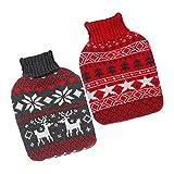 RJJBYY 2 Stück Wärmflasche, Weihnachten gestrickte Wärmflasche, rote gestrickte Schneeflocke Wärmflasche, süße Elch Wärmflasche