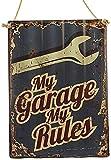 Agora Gifthouse Blechschild Retro My Garage My Rules Geschenk Magnet Metall Schild lustiger Spruch Vintage Türschilder Nostalgie Deko Hausbar Hobbyraum Mencave Männerhöhle 40x29 cm