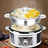 5L Multifunktion Kochtöpfe Elektrische Hot Pots Simmertöpfe Suppentöpfe Topf Reis Kocher Dampfer mit Glasdeckel, Zeitmessgerät