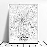 lubenwei Flensburg Wilhelmshaven Dortmund Mannheim Wiesbaden Germany Canvas Art Map Poster 50x70cm Kein Rahmen AQ-262