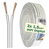 erenLINE® 10 m Lautsprecher-Kabel 2x 1,5 mm² weiß; Boxenkabel; Lautsprecher-Verlegekabel: für HiFi Anlage, Home Cinema, KFZ/Auto, Multi-Media; Meterware