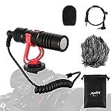 Moukey Kamera Mikrofon Video Mikrofon Video Kondensator Mikrofon MCM-1 mit Stoßdämpfer, Windschutz und 3.5mm Mic Buchse für Smartphone, Vlogging, Canon/Nikon/Sony