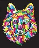 Empty Malen Sie nach Nummer Vorgedruckt Leinwand Haus Dekor Erwachsene Kinder Acrylfarben Vorgedruckter Ölgemälde Wandkunst Zeichnung-Farbe Wolfskopf 40x50 cm Ohne Rahmen