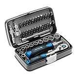 Högert Werkzeugset Werkzeugkoffer – Werkzeugsatz Werkzeug Tools Steckschlüsselsatz Schraubendreher Ratsche – Schwarz-blau, 1/4″, HT1R462, 38-tlg