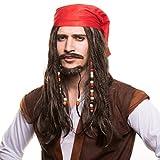Piraten Seeräuber Perücke Piratenperücke mit Perlen und roten Bandana für das perfekte Piratenkostüm zum Fasching und Karneval
