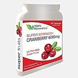 Cranberry-Kapseln, super stark, 100 % natürlich, Harnwege, zur Linderung von Zystitis-Infektionen