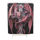 Zhouwonder Fantasy Dragon kreative Wohnideen maschinenwaschbar Home Universal mit Haken für Dusche Dekoration Polyestergewebe White 150x180cm