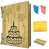 Grußkarte aus Holz als Geburtstagskarte & Einladung - Bambuskarte mit Torte & Feuerwerk ca. A6 Format - mit 2xEinlagepapier, Briefumschlag, Probestück