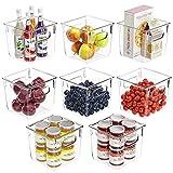 FINEW Kühlschrank Organizer Set of 8, Aufbewahrungsbox für Gefriergeräte, Küchenarbeitsplatten und Schränke, Clear Plastic Pantry Lebensmittelaufbewahrung- BPA Frei