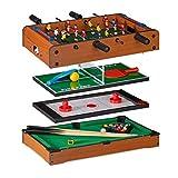 Relaxdays Multigame Tisch 4 in 1, Tischkicker, -tennis, -hockey & Billard, Kinder & Erwachsene, Multi Spieltisch, braun
