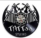 xiadayu Wanduhr Tattoo Studio Vinyl Schallplatte Wanduhr Modernes Design Tattoo Salon Shop Wandpaneel 3D-Dekoration Vinyl Wanduhr Home Decor -Ohne LED