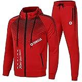 SPORTYLH Herren Sportbekleidungsanzug Wellenpunkt Yam_aha Revs You Heart Kapuzenjacke und Sporthose Outdoor Casual Zip Strickjacke Trainingsanzug (Red,XXL)