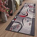 TAPISO Dream Läufer Teppich Meterware Flur Brücke Modern Streifen Bumerang Grau Rot Schwarz Schlafzimmer Wohnzimmer ÖKOTEX 80 x 200
