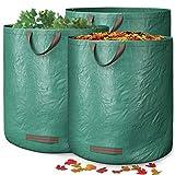 GardenGloss® 3X Gartenabfallsäcke mit Griffen - 272L Hohes Fassungsvermögen und doppelter Boden - UV-Stabil und Wasserabweisend - Wiederverwendbare und Stabile Gartensäcke