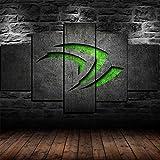 AWER 5 Panel Prints On Canvas Gerahmter NVIDIA Gaming Room Wanddekoration Design Hd Bilder Wohnkultur Geschenk TLG Kunstdruck Größe:M/B=150Cm,H=80Cm fertig zum Aufhängen
