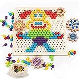 Herefun Mosaik Spielzeug, Steckmosaik Bunte Steckspiel, Holz Mosaik Steckspielzeug Pegboard Puzzle mit 250 Pilznagel, Kinderspielzeug Geschenk, Lernspielzeug Gedächtnistraining Aids für Kinder (A)