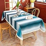 CCBAO Polyester Tischdecke Rechteckige Haushalt Tischdecke Quaste Tischdecke Dekoration Tischdecke Teetischdecke Blau + Weiß Streifen Tischdecke Abdeckung Handtuch Sofabezug 140x140cm