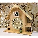 HIGHKAS Kuckucksuhr Wohnzimmer Wanduhr Reset Vogel Kuckuckswecker Uhr Moderne Kurze Wohnaccessoires Tageszeitalarm 34x33cm