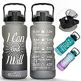 Skisneostype Trinkflasche 2,2 Liter, BPA Frei Tritan Wasserflasche mit Zeitmarkierungen, Fahrradflasche Water Bottle, Sport Trinkflasche mit Strohhalm, Auslaufsichere Sportflasche für Fitness, Schule