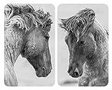 WENKO Herdabdeckplatte Universal Horses 2er Set - 2er Set, Kochplattenabdeckung und Glas-Schneidebrett für alle Herdarten, Gehärtetes Glas, 30 x 1.8-5.5 x 52 cm, Mehrfarbig