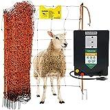 Agrarzone Schafzaun Komplett-Set N11000 230V, 15J, Netz 50m x 108cm, orange | Optimale Hütesicherheit für Schafe Ziegen | Schafnetz-Set mit starkem Weidezaungerät | Weidezaun Elektrozaun Ziegenzaun