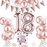 52 Stück 18 Geburtstag Deko,18. Geburtstag Mädchen,Deko 18. Geburtstag Mädchen,18 Jahre Zahl Folien Luftballons Helium Ballons mit Tortendeko für Frauen Mädchen-Roségold