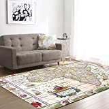 Lee My Teppich Kreative Vintage Weltkarte Teppich Modern rutschfeste für Wohnzimmer, Flur, Schlafzimmer,A,16x24inch/1.3ftx1.9ft