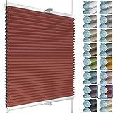 SchattenFreude Waben-Plissee nach Maß für Fenster & Tür | 100% verdunkelnd/Blackout | Zum Anschrauben in der Glasleiste | Rot (Weiße Rückseite), Breite: 140-150cm x Höhe: 150-220cm