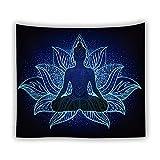 KHKJ Indische Buddha-Statue Meditation 7 Chakra-Wandteppich Wandbehang Mandala-Wandteppiche Wandtuch Psychedelischer Yoga-Teppich A12 200x150