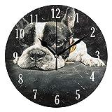 Mnsruu Französische Bulldogge Wanduhr stilles Nicht tickendes betriebenes genaues Sweep-Bewegung, dekorativ für Wohnzimmer, Schlafzimmer, Büro (schwarz)