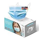 HARD 50x Kinder Medizinischer Mundschutz, Made in Germany, TYP IIR OP-Maske, CE zertifiziert EN14683 99,78% BFE 3-lagig Öko TEX, schützende Mund-Nasen-Bedeckung, Einweg-Gesichtsmasken - Blau